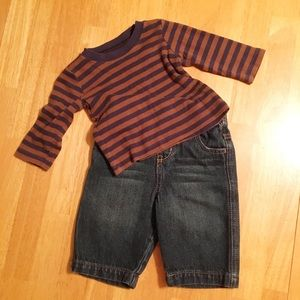 Little Boys Oshkosh Jeans & Carter's Striped Tee